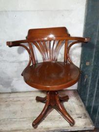 Oude Houten Draaistoel.Oude Antiek Brocante Thonet Draaistoel Bureaustoel Stoel