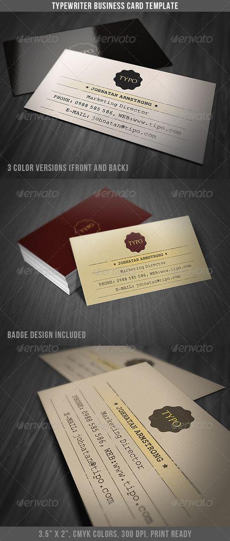 Typewriter Business Card Template | Card templates, Typewriters ...