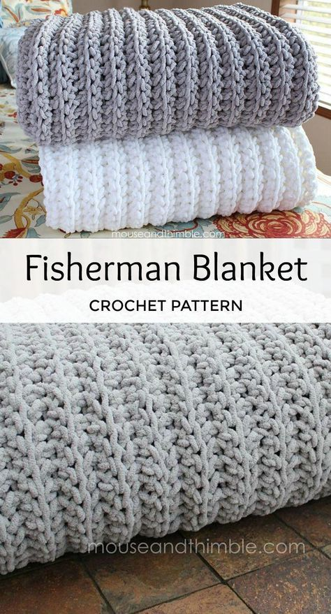 This cuddly oversized blanket feels so soft on your skin. Its snuggly, springy texture hugs you right back! Quick & Easy pattern to crochet. Crochet Afghans Fisherman Blanket 7252 Crochet pattern by Carla Malcomb Crochet Diy, Crochet Afghans, Crochet Vintage, Crochet Simple, Learn To Crochet, Crochet Crafts, Simple Crochet Blanket, Crochet Ideas, Free Crochet Blanket Patterns