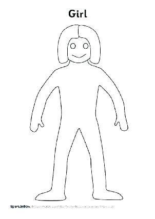 Body Outline Coloring Page Download Paper Doll Girl Body Template
