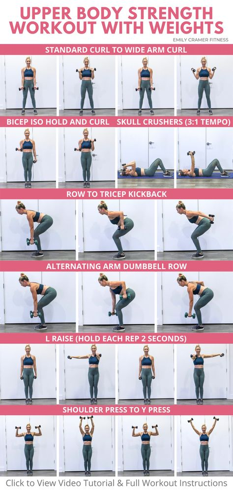 Upper Body Strength Workout, Beginner Upper Body Workout, Upper Body Weight Workout, Upper Body Workout For Women, Weights Workout For Women, Back Workout Women, Gym Workouts Women, Weight Lifting Workouts, Strength Training Workouts
