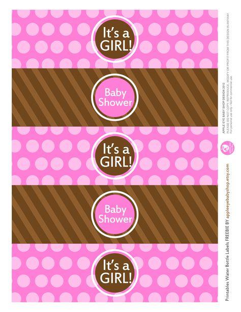 {Free Printable  Baby GIRL Water Bottle Labels} Freebie by http://www.etsy.com/shop/appleeyebabyshop?ref=si_shop #printable  #freebies #diy #print #free #label #babyshower #girl #waterbottle
