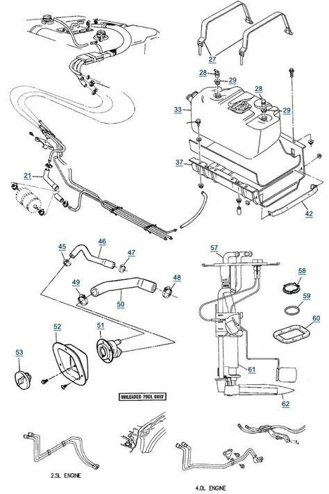 1987 1995 Jeep Wrangler Yj Fuel Lines Fuel Pumps Fuel Line Diagram 4wd Com Jeep Wrangler Yj Jeep Yj Jeep Wrangler
