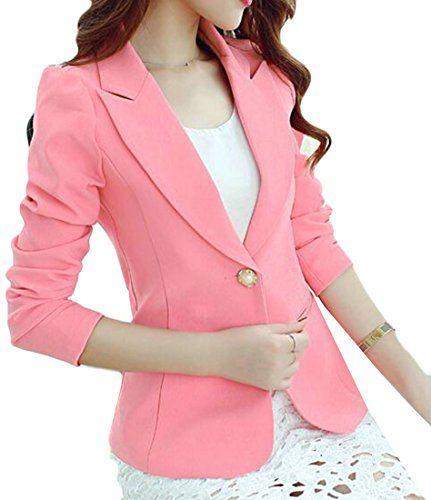 Fensajomon Women Casual Solid Color 3//4 Sleeve Short Crop Formal Work Blazer Jacket Suit Coat