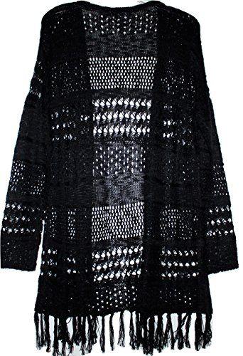 99 Jane Street Women's Black Open Front Crochet Cardigan