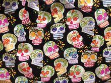147 X 100 cm 50 s Vintage Skull algodón popelina tela para el vestido del remiendo de costura DIY-AF048(China (Mainland))
