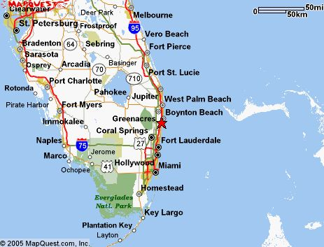 Map Of Florida Showing Delray Beach.Delray Beach Fl Is Located On The East Coast Of South Florida