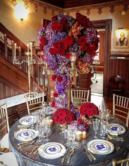 Wedding Centerpieces Red Gold Purple 53 Ideas Red Wedding