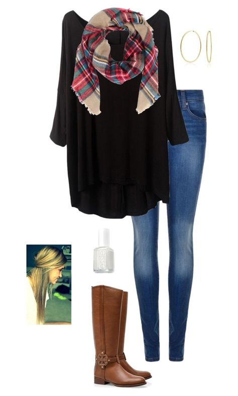 """""""thanksgiving!!"""" by gabbbsss ❤ liked on Polyvore featuring Dr. Denim, Tory Burch, Bling Jewelry and Essie"""