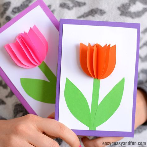 3d Paper Tulip Card Simple Mother S Day Card Idea Tulips Card Spring Crafts For Kids Paper Crafts Cards