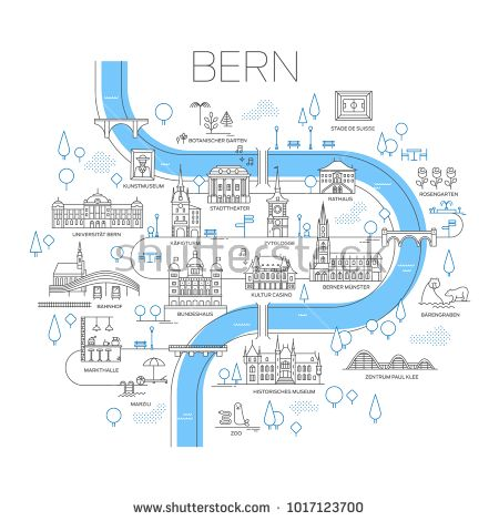 Vector Illustrated Map Of Bern Switzerland Stylized Landmarks