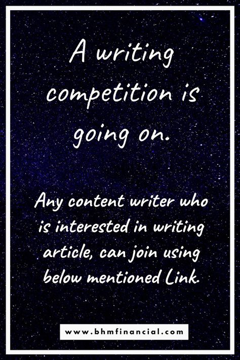 Writing competition is Going ON.