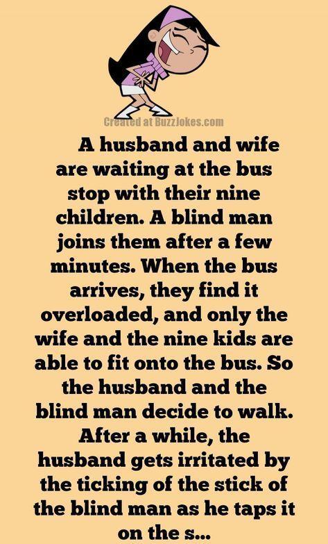Short Joke A Huge Family Waiting For A Bus Short Jokes Funny Marriage Jokes Long Jokes