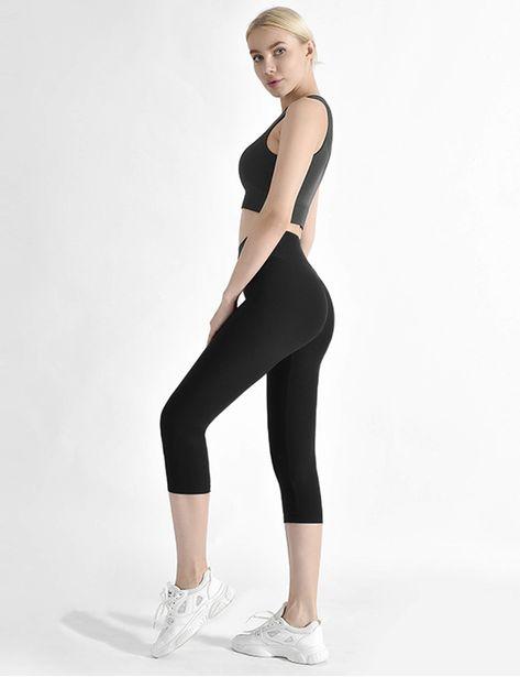 Natural Feelings Soft Capri Leggings for Women High Waisted Tummy Control Opaque Slim Leggings One /& Plus Size