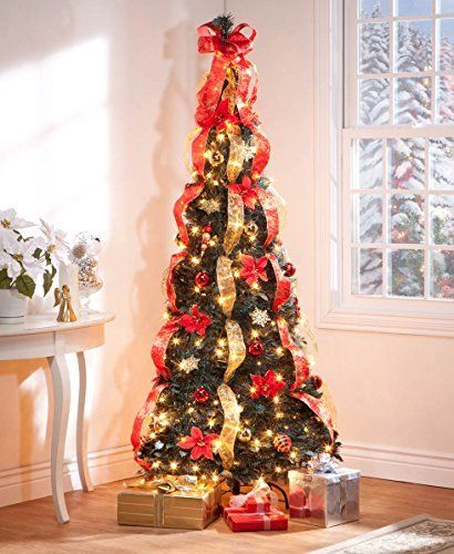 Christmas Tree Fully Decorated Pre Lit 6 Ft Pull Up Pop Up Out Of Box Ready Minimal Assembly Needed Christmas Tree Holiday Decorations W 350 Warm Lights With S Pencil Christmas Tree
