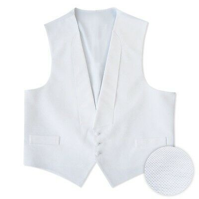 NEW Mens White Pique Cotton Tuxedo Vest Pre tied Bow S M L XL XXL XXXL XXXXL 5XL