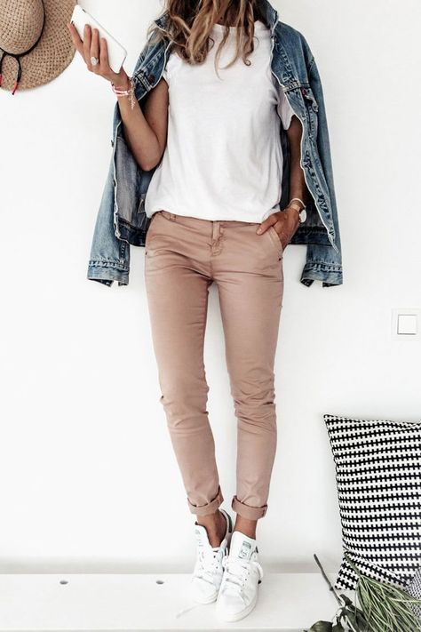 Image result for denim jacket with a chino trouser