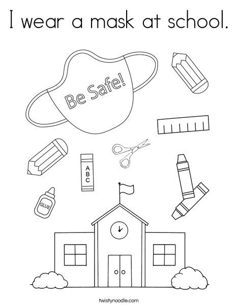 I Wear A Mask At School Coloring Page Twisty Noodle School Coloring Pages Preschool Coloring Pages Kindergarten Coloring Pages