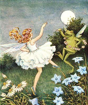 Fairy with frog - Illustration by Ida Rentoul Outhwaite. Illustrators, Fantasy, Vintage Fairies, Illustration, Drawings, Fantasy Art, Fairy Art, Fairies Dancing, Fairytale Art