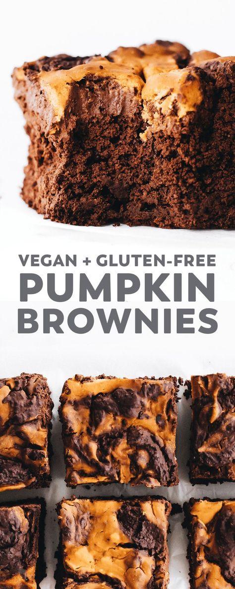 Vegan Pumpkin Swirl Brownies – fudgy oat flour brownie base marbled with spiced swirls of pumpkin on top. A gluten-free, oil-free, decadent fall dessert! #vegan #glutenfree #oilfree #pumpkin #chocolate #recipe #pumpkinspice