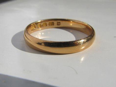 Vintage Art Deco yellow rose gold ring 22 carat 22ct wedding