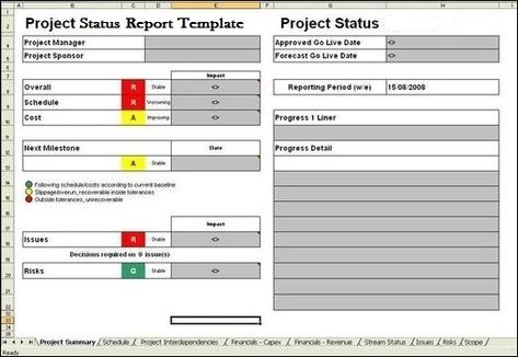 Project Report Template ExcelTemple Excel Project Management - project status sheet