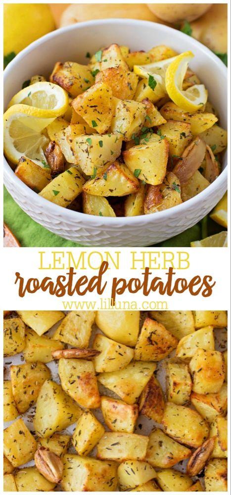 Easy Herb Roasted Potatoes Recipe Lil Luna Recipe Roasted Potato Recipes Potato Recipes Side Dishes Golden Potato Recipes