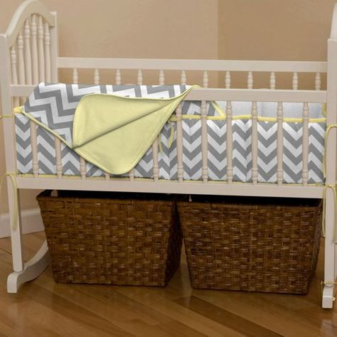 yellow gray cradle bedding