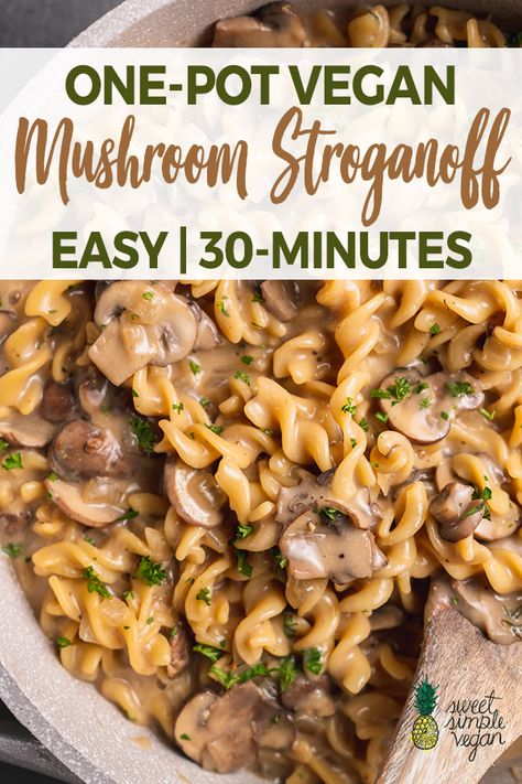 One-Pot Vegan Mushroom Stroganoff​ Learn how to make this creamy Mushroom Stroganoff with one pot and just 30 minutes of your time. - Learn how to make this creamy Mushroom Stroganoff with one pot and just 30 minutes of your time. Tasty Vegetarian Recipes, Vegan Dinner Recipes, Whole Food Recipes, Beef Recipes, Rice Recipes, Simple Vegetarian Recipes, Vegetarian Recipes With Mushrooms, Vegan Recipes One Pot, Easy Vegan Dishes