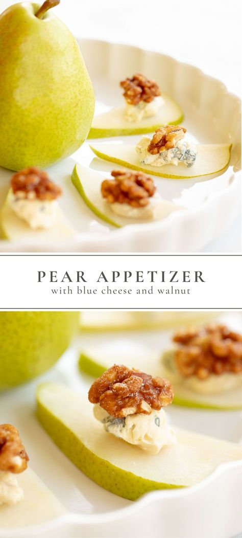 An easy Pear Appetizer with Blue Cheese and Candied Walnuts requires only 3 ingredients and can be made in less than 5 minutes! It's the best fall appetizer recipe for a crowd. Sweet, savory, crisp and crunchy - it's the perfect healthy holiday appetizer! #appetizer #easyappetizer #pear #walnuts #bluecheese #recipe