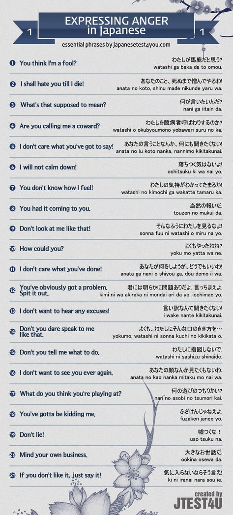 Infographic: how to express anger in Japanese. http://japanesetest4you.com/infographic-express-anger-japanese/