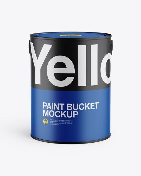 5l Matte Paint Bucket Mockup In Bucket Pail Mockups On Yellow Images Object Mockups Mockup Psd Mockup Free Mockup