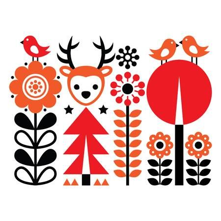 Folk Art Pattern Scandinavian Nordic Style With Flowers And Pattern Art Scandinavian Folk Art Flower Graphic