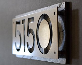 Custom Stainless Steel And Cedar House Number Address Plaque