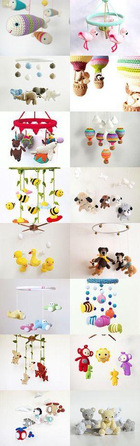 Baby Mobile Gehkelt Mit Elefanten Und Sternen Crochet Mobiles