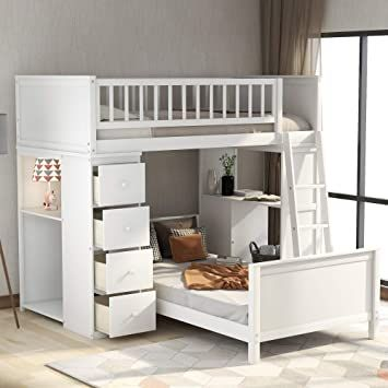 Twin Over Twin Bed Bunk Beds For Kids Twin Bed With 4 Drawers And Shelves Safety Rail Ladder And De Loft Bunk Beds Bunk Bed With Desk Bunk Beds With Stairs Twin over twin bunk beds with storage