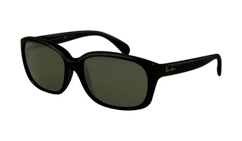Ray Ban RB4161 Sunglasses Black Crystal Frame Green Polarized Le