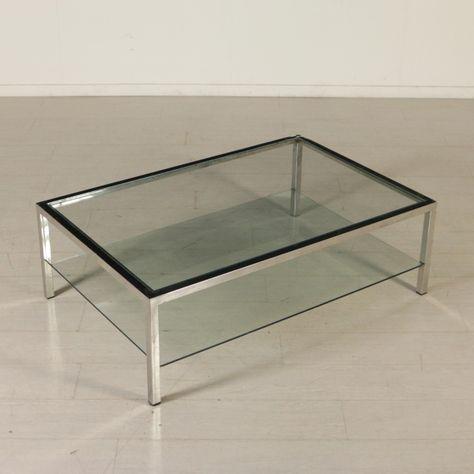Tavolo Cristallo Design Anni 70.Tavolino Anni 70 80 Da Centro Metallo Cromato E Vetro