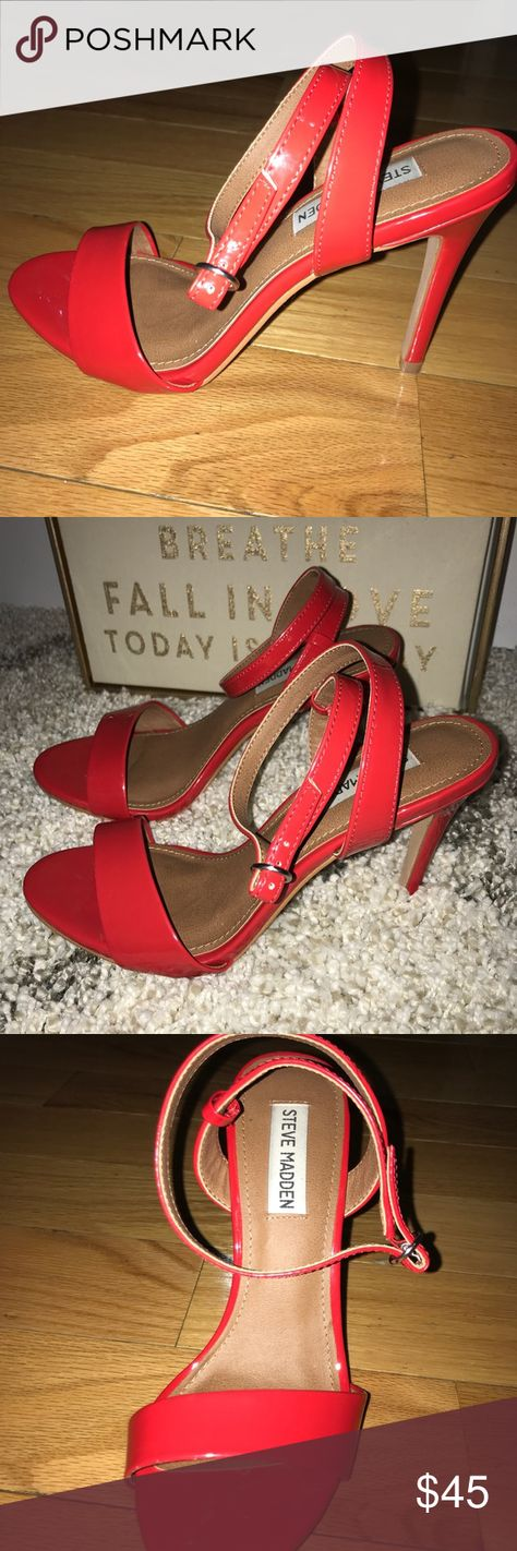 ca070581726d Steve Madden Sandal heels Red Sandal heels with wrap around ankle strap.  Worn once.