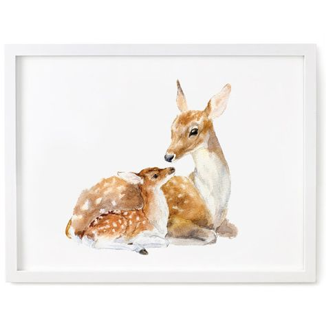 Deer Watercolor Print Fawn Print Deer and Fawn Art by chocovenyl