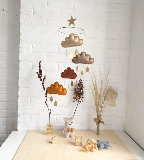 Earth Tone Baby Mobile Beige Taupe Rust Ocre Cloud Mobile With