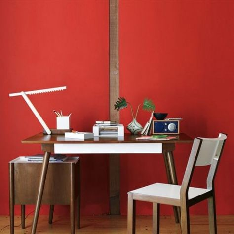 red wall for a bright home office colour home office furniture rh pinterest ca