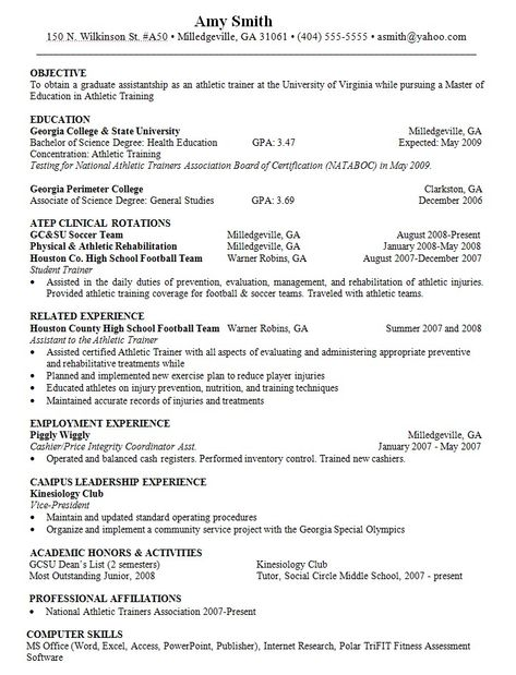 Objective For Resume Athletic Trainer - http\/\/resumesdesign - soccer resume for college