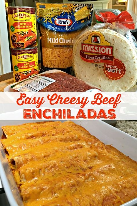 EASY CHEESY BEEF ENCHILADAS - Go-to family favorite for almost two decades. With just four ingredients and under an hour from start to finish, these cheesy, beefy, saucy enchiladas are a cinch to make, always a hit! #BeefEnchiladas #Easy #Recipe #Mexican #Maindish