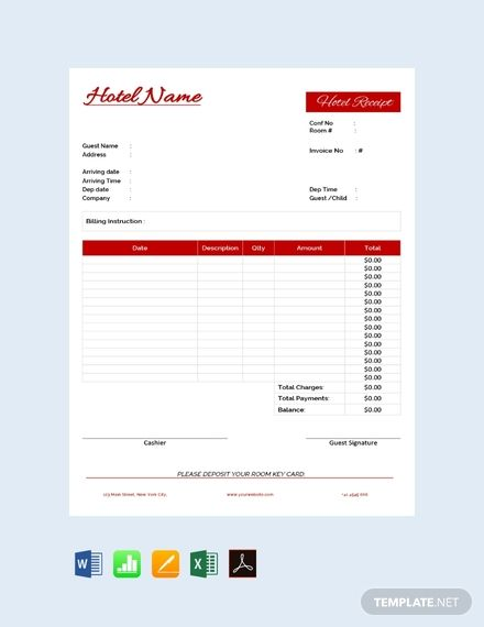 Free Hotel Receipt Receipt Template Invoice Template Word Free