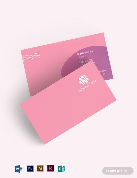Spa Business Card Template Word Doc Psd Indesign Illustrator Publisher Spa Business Cards Business Card Template Word Business Card Template Design