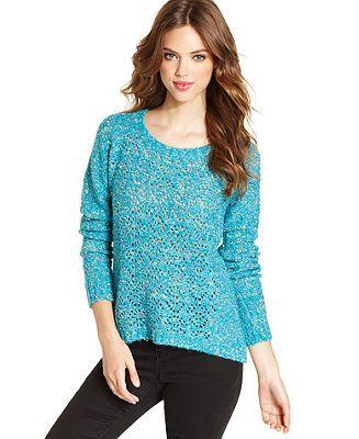 Kensie blue open-stitch sweater