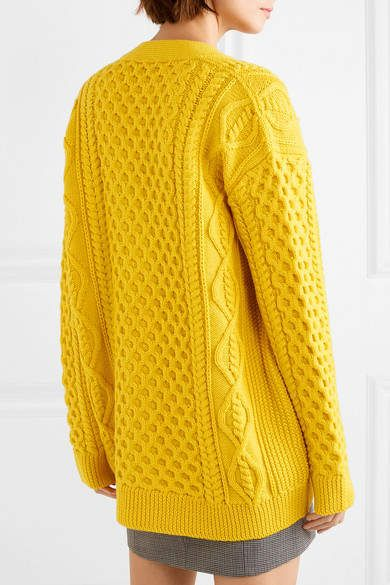 Marc Jacobs Cable Knit Wool Cardigan Yellow Cable Jacobs Marc Wool Cardigan Chunky Cable Knit Cardigan Cable Knit Cardigan