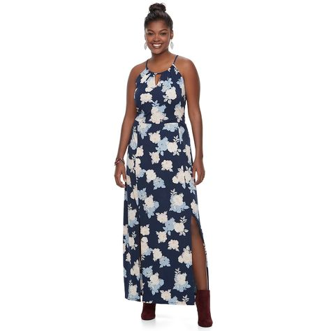 Plus Size Juniors  Candie s® Print Halter Maxi Dress in 2018 ... 40cd0dced