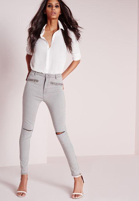 Missguided - Sinner High Waisted Slash Knee Skinny Jeans Light Grey